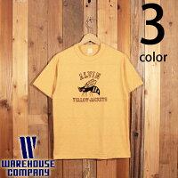 ウエアハウスWAREHOUSE半袖TシャツALVINYELLOWJACKETSフロッキープリント4601