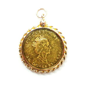 [Used] K24 pure gold gold maple leaf gold coin 1/4 oz coin pendant top frame K14 8.7g KA frame only polish B rank