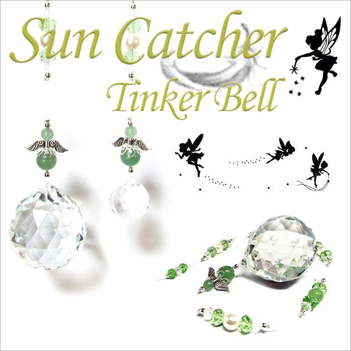 天然石 グリーンアベンチュリン Tinker Bell 妖精のサンキャッチャー トップ 約40mm パワーストーン アクセサリー インテリア