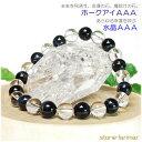 ホークアイ(ブルータイガーアイ)AAA×水晶AAA<天然石ブレスレット・パワー...