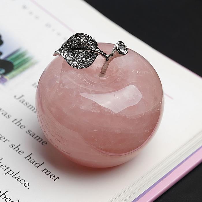 ディープローズクォーツ りんご [大] 1個 天然石 パワーストーン ローズクォーツ 置物 インテリア 紅水晶 ラインストーン 林檎 アップル