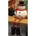 足ブラクリスマスドール スノーマン 1個サンタ、スノーマン、トナカイ 大人気の仲良し3人組。商品棚にちょこんと腰を掛け、商品をアピールします。クリスマス 飾り 装飾 雑貨 オブジェ