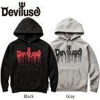 【DEVILUSE】Logo Blood Pullover Hooded Sweat(Black)(Gray)(デビルユース ロゴブロッド プルオーバーフードスエット パーカー ブラック グレー)17aw/