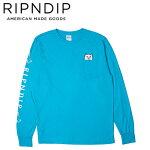【RIPNDIP】LORDNERMALPOCKETSLEEVETEE(BLUE)(リップンディップ長袖ロングスリーブポケットTシャツロンTブルー)19f
