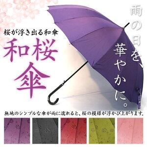 浮き出る桜柄の傘で雨の日も華やかな気持ちに♪グラスファイバー16本骨で丈夫で軽量!更にUV加...