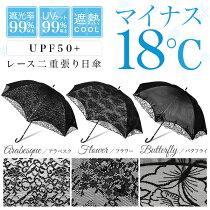 日傘晴雨兼用レース二重張りスライド式uvカット99%以上遮光率99%以上UPF50+遮熱効果シルバーレディース傘
