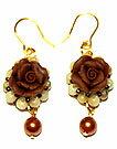 Bead accessories Fimo elegant rose earring (brown & beige)