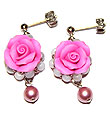 Bead accessories フィモエレガント rose earrings (pink & light grey)