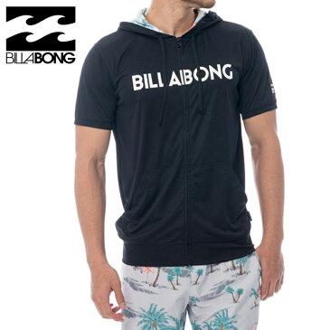 ビラボン UPF50+ メンズ 半袖 ラッシュガード ビックロゴ フルジップ 吸水速乾 AJ011870 ブラック