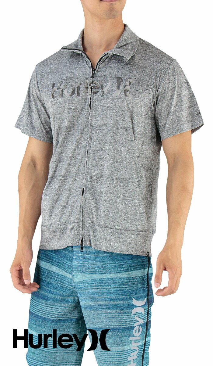 セール-HURLEY-ハーレー-半袖ラッシュガード-ジップアップ-立ち襟-定番ロゴ-MKNZLY45-HTG