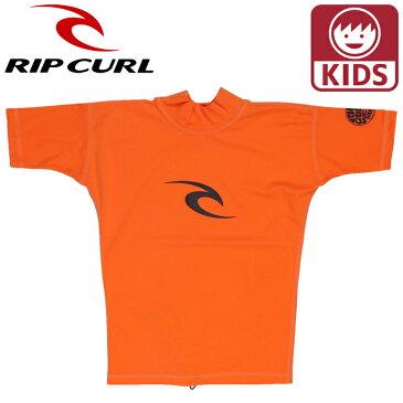 リップカール ジュニア キッズ 半袖 ラッシュガード ティーシャツ 子供用水着 RIPCURL オレンジ