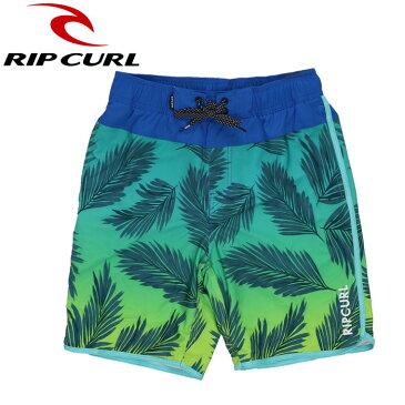 リップカール リーフ柄 サーフトランクス メンズ水着 派手系 膝丈 U01-404 緑色 グリーン RIPCURL