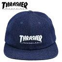 スラッシャー キャップ アジャスター調整 THRASHER マグロゴ刺繍 CAP フラットバイザー D.DENIM 帽子