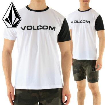 セール VOLCOM N01117JB ボルコム 半袖ラッシュガード 水陸両用 白Tシャツ ブランドロゴ