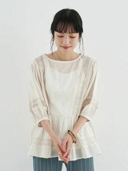 【earthmusic&ecology】儚げレースブラウス(パフスリーブ)