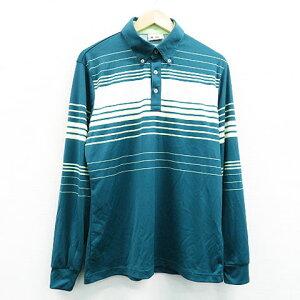 adidas GOLF アディダスゴルフ 長袖ポロシャツ ボーダー グリーン系 O 【中古】ゴルフウェア メンズ