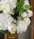 送料無料 リース インテリア 白薔薇 ナチュラルリース ギフト プレゼント アーティフィシャルフラワー 造花