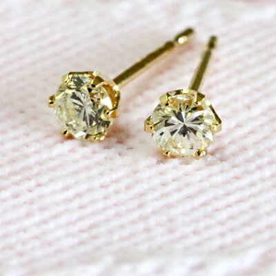 ダイヤモンド ピアス 一粒ダイヤ K18 0.3ct SIクラス H-I スタッド 一粒ダイヤモンドピアス ダイヤモンドピアス ダイヤピアス 18金 18K イエローゴールド 0.3 カラット