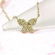 バタフライ ネックレス ダイヤモンド ゴールド ジュエリー コンビニ ホワイト