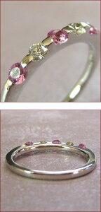 K18/プラチナ900ダイヤモンド&ピンクサファイアエタニティリング
