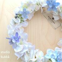 直径18cmブルーグレーのアジサイとブルースターのリース造花アーティフィシャルフラワー玄関壁飾りウェディングブライダル