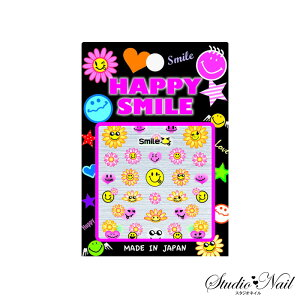 ポップでキュートなスマイルシール☆【HAPPY SMILE SEAL】スマイルフラワー(ピンク&キイロ)...