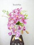 アートフラワー造花高級アレンジメントカラーシンビジュームピンクホワイト白インテリア雑貨シンプルプレゼント贈り物お祝い自宅玄関明るい即日翌日母の日