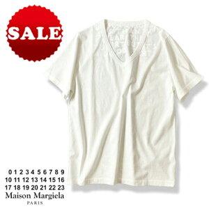 【定価19,800円(税込)】Maison Margiela メゾン マルジェラ 今やマルジェラの定番となったチャリティー'エイズTシャツ'!上質コットンVネックTシャツ! マルタンマルジェラ S30GJ0007 ホワイト ユニセックス 男女兼用