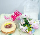【生花花束】ミニ花束と長崎バウムクーヘン