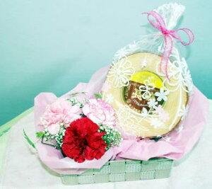 カーネーションアレンジとバウムクーヘンのセットB 花アレンジメントとスイーツ 母の日 花とスイーツ