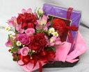 【母の日】生花アレンジメントとスイーツのセット【赤い帽子のクッキー&チョコ】【花とスイーツ】【送料無料】【あす楽】