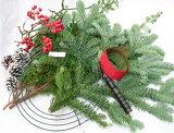 モミの木とヒムロスギのクリスマスリースキット 【クリスマスリース 手作りキット】【生花】【切花】【資材】もみのき モミノキ 樅ノ木 モミの木 フラワー リース