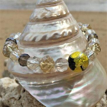 とんぼ玉 ブレスレット ほたる玉 数珠風 光る ガラス 工芸 アクセサリー イエロー