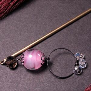 Kanzashi Tonbo Ball One Piece Pink Cherry Blossom Pink Glass Beads