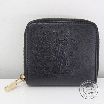 【Yves Saint-Laurentイヴサンローラン】CHEVRETTEシェブレッテ 2A YSL型押しロゴ レザー 二つ折り財布(小銭入れあり) ブラック レディース 【中古】
