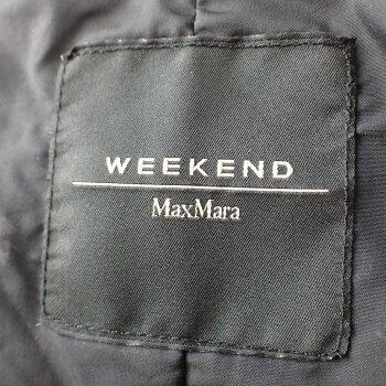 Max Mara WEEKENDマックスマーラウィークエンド 54862423070 襟元カットワークデザイン ベルト付 スタンドカラーダウンコート38  ブラック  レディース 【中古】