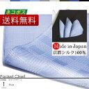 ポケットチーフ 日本製 京都シルク で織り上げた ポケットに挿すだけで簡単にワンランク上のスタイルに ポケットチーフ シルク 100% グレンチェック 柄 ブルー 【ネコポス送料無料】