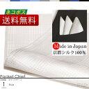 ポケットチーフ 日本製 京都シルク で織り上げた ポケットに挿すだけで簡単にワンランク上のスタイルに ポケットチーフ シルク 100% グレンチェック 柄 ホワイト