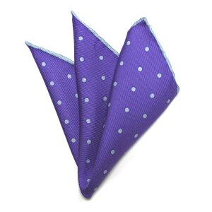 紺縁ポケットチーフ紺ドットパープル(紫)