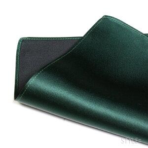 ポケットチーフ/シルク/無地グリーン(深緑)日本製通販白・カラー多数取揃え!レビューを書いてメール便で【送料無料】