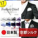 ポケットチーフ 単品 / シルク / 無地 全17色 / 日本製 / 【メール便 送料無料】 同色の ネクタイ と セット でどうぞ♪ 白・ピンク…