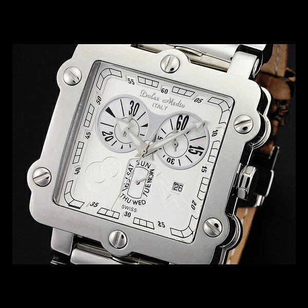 【店内全品ポイント10倍!7/24(火)9:59まで】腕時計 メンズ ブランド 1年保証 正規 Dolce Medio ドルチェ メディオ スイス 製 ムーブメント仕様 クロノグラフ 腕時計 BOX 保証書付