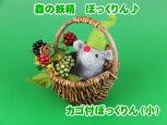【手作り作品】【羊毛フェルト】森の妖精ぼっくりん♪小サイズカゴ付き【ogumogu作品】
