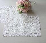 フルールレース ランチョンマット ホワイト ドイリー フレンチシャビー シャビーシック テーブルセンター テーブルランナー 布製 刺繍 アンティーク風 アンティーク調 可愛い 姫系