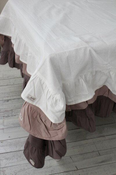 フリルのテーブルクロス(ローズ・グレー・ホワイト)長方形 150×220 イタリア直輸入 トップクロス シャビーシック アンティーク風 アンティーク 雑貨 フレンチカントリー 姫系 antique