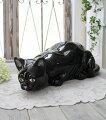 スタイルロココ アンティークな黒猫の置物 陶器製 キャット オブジェ ボルダロ・ピニェイロ ポルトガル製 おしゃれ シャビーシック アンティーク風 洋食器
