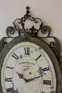 アンティーク調の掛け時計♪クラウン・オーバルクロックアイアンクロック掛時計フレンチカントリーシャビーシック