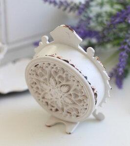 シャビーホワイトの置時計シェルクロック♪置時計小型白色シャビーシックフレンチカントリー