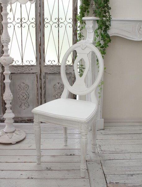 アンティークなダイニングチェア ホワイト・木座 椅子 カントリーコーナー 【Country Corner】 Gustavienコレクション ダイニングチェア アンティーク 木製 チェア フレンチカントリー アンティークホワイト 白 アンティーク風 フランス 送料無料