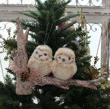 クリスマスオーナメント (ピンクトゥーオウルズ・フクロウ)アンティーク風 シャビーシック 北欧 フレンチ ロマンティック 可愛い クリスマス飾り